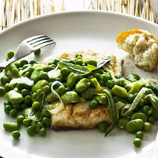 Pan-Fried Fish with Minted Peas and Fava Beans.