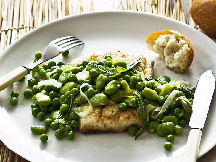 Pan-Fried Fish with Minted Peas and Fava Beans