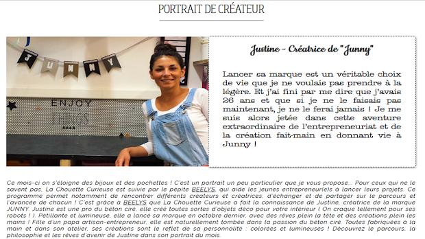 Portrait de créateur La chouette Curieuse Junny créatrice d'objets déco en béton