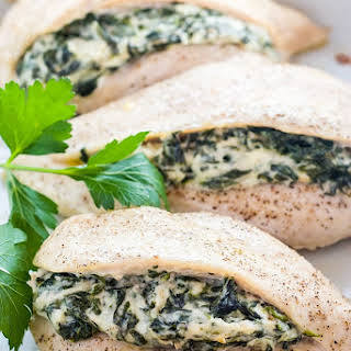 Spinach Stuffed Chicken Breast with Cheese (Low Carb, Gluten-free) - 6 Ingredients.