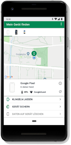 """Bildschirm mit der Funktion """"Smartphone suchen"""" auf einem Mobilgerät"""