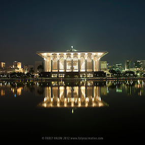 Iron Mosque, Putrajaya by Fadly Hj Halim - Landscapes Waterscapes ( reflection, mosque, buildings, night, bridge, light )