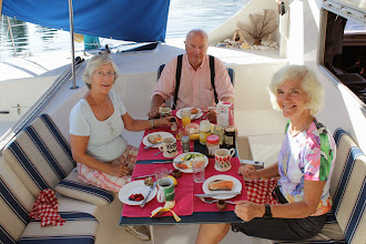 Photo: Breakfast with Jorunn and Kåre Høyvik who let us tie up on their property.