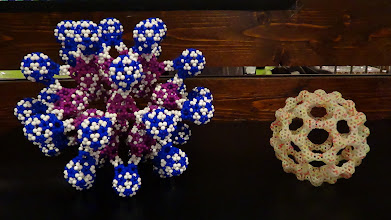 Photo: Superdodecahedron with V-shaped connections of xC80 (left), andC60xC60 (right), by Chern Chuang