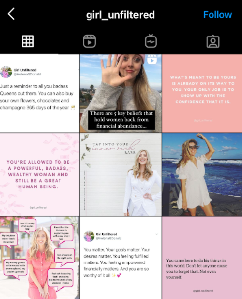colorful Instagram grid