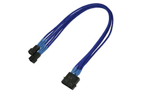 Forgrener, 4 pins drev til 2x3 pins vifte, lederstrømper, 30 cm, blå