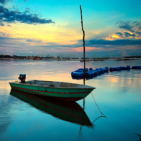 calm and colorful by Macbrian Mun - Landscapes Waterscapes ( calm, water, reflection, waterscape, colors, sea, malaysia, seascape, boat, landscape, sky, johore, sunset, evening, river )