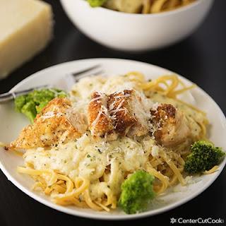 Parmesan Crusted Chicken Alfredo.