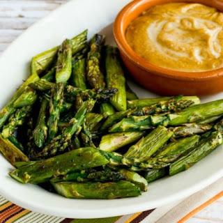 Roasted Asparagus with Creamy Tahini-Peanut Dipping Sauce.