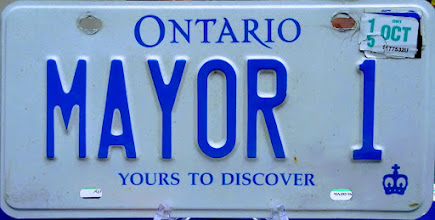 """Photo: A close-up look of former Mississauga mayor Hazel McCallion's """"MAYOR 1"""" Car Licence Plate expired Oct. 2015.  Photo by I Lee 12 April 2017 at """"Do Your Homework"""" - A Tribute to Former Mayor Hazel McCallion Exhibit in the Great Hall, Mississauga Civic Centre."""