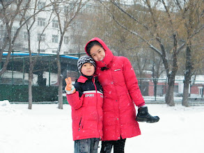 Photo: 3rd snow in Qiqihar in winter 2012. son, warrenzh 朱楚甲 reunited with his proudest dad, benzrad 朱子卓, after defeated insanity from his mom's family, esp. the grandma, a sinful heart and a pair of sick espionage eyes. the blessing snow announce save and forgiving, in vanish of evils against our Royal China under Zhu's and God's shine. Here his mom, emakingir, dropped in with his normal shoes before returned home together.