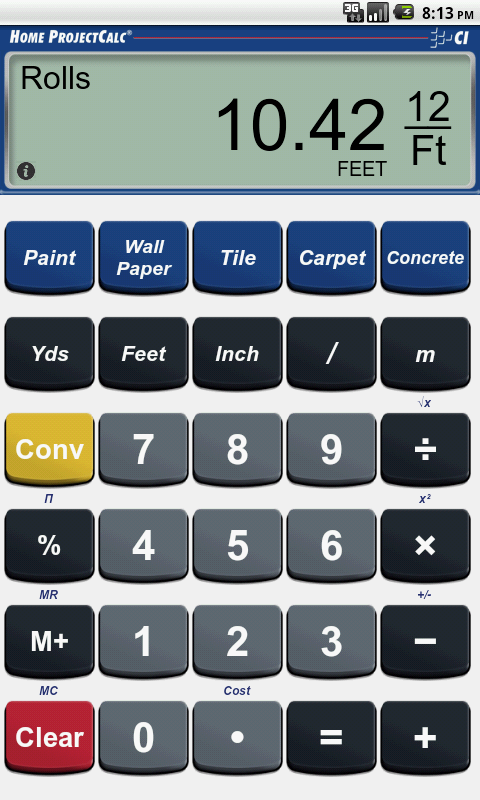Home ProjectCalc- screenshot