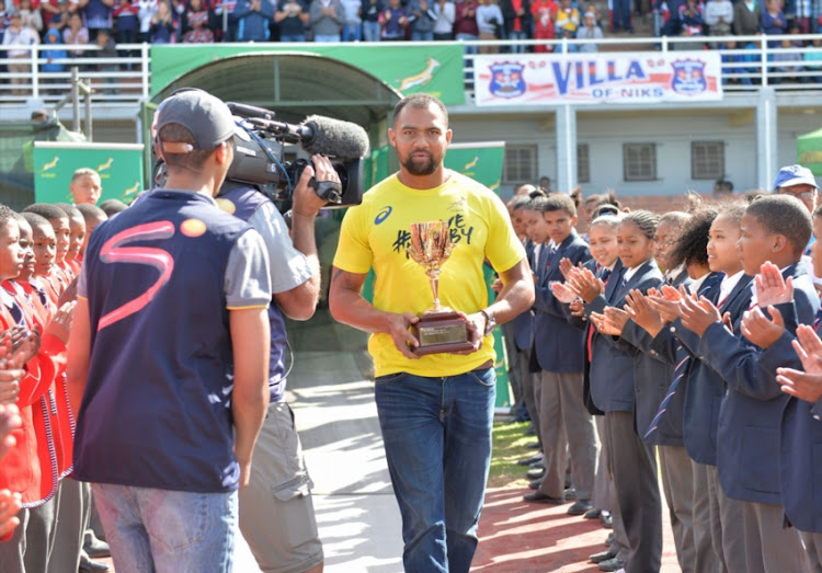 Cornal Hendricks holding the trophy prior the Gold Cup 2016 match between OneLogix United Bulk Worcester Villagers and Tiger Wheel & Tyre Welkom Rovers at Boland Park on September 10, 2016 in Worcester, South Africa.