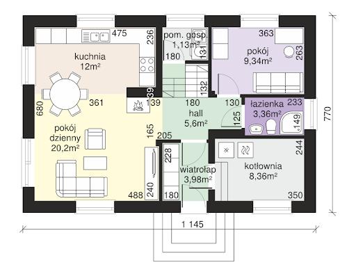 Dom przy Alabastrowej 28 - Rzut parteru