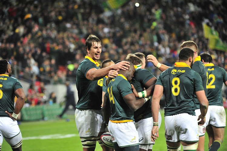 Eben Etzebeth (captain) of the Springboks celebrates Raymond Rhule of the Springboks scoring during the 2017 Rugby Championship game between South Africa and Argentina at Nelson Mandela Bay Stadium, Port Elizabeth on 19 August 2017.