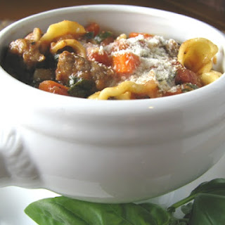 Beef Florentine Pasta Soup with Basil and Cream.
