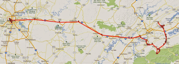 Photo: 182 miles covered in Day 1 of vacation.  From Nashville to outside Knoxville