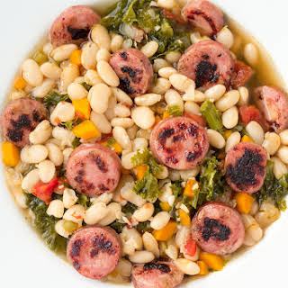 Pressure Cooker White Bean Soup with Crispy Sausage and Kale.