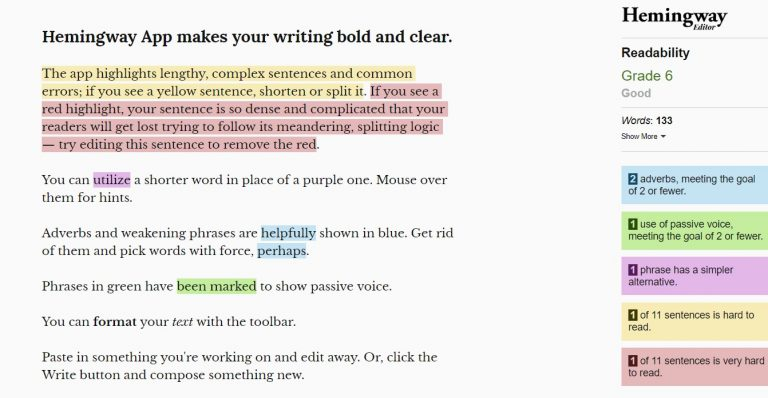 revisor de texto online Hemingway