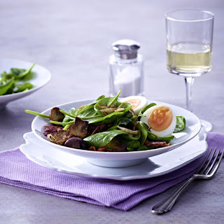 Spinach Salad with Hard-Boiled Eggs and Bacon Vinaigrette.