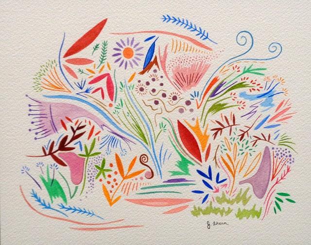 """""""Fairy Garden"""" by Jennifer Ahern. Watercolor."""