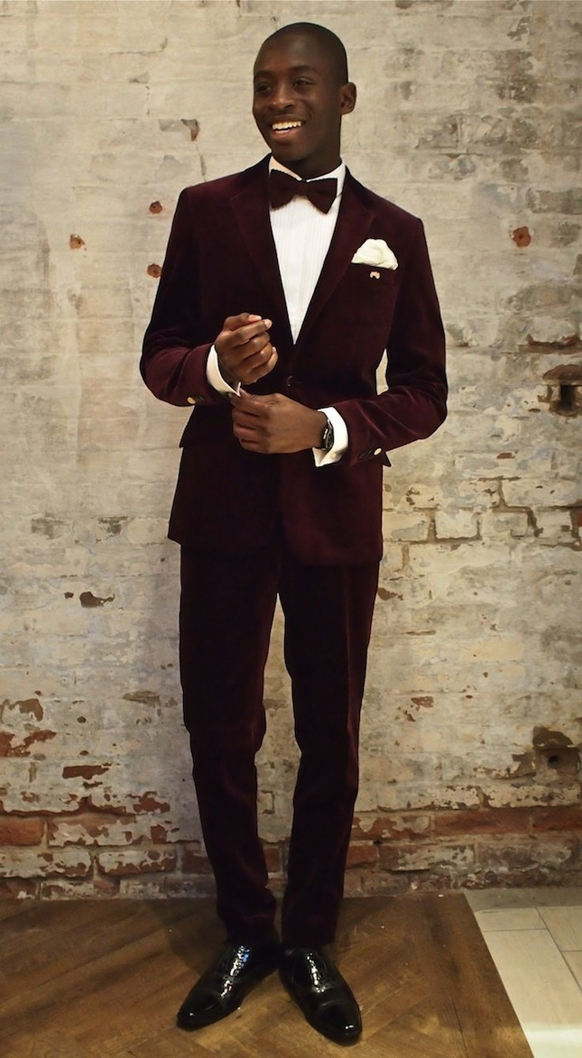 Man in maroon velvet tux