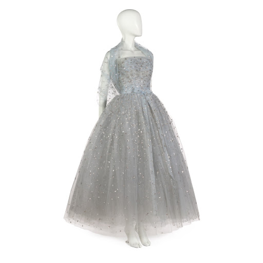 fac4a89974a Evening dress in pale blue tulle with stole - Christian Dior and Yves Saint  Laurent — Google Arts & Culture