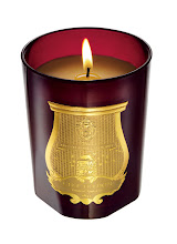 """Photo: CIRE TRUDON """"Nazareth"""" natural wax candle in a mouth-blown red glass vessel featuring a blended fragrance of clove, cinnamon, orange and olibanum. 9.5 oz. $85. France. Seventh Floor. 212 872 8775"""
