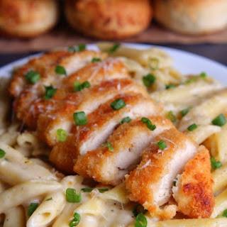 30-Minute Garlic Parmesan Pasta with Crispy Chicken.