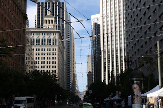 Photo: Overhead electric trolley bus wires on Market Street