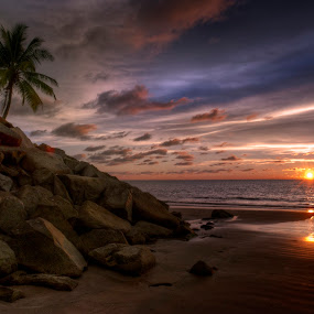 Empire Beach by Mohamad Sa'at Haji Mokim - Landscapes Sunsets & Sunrises ( water, tree, sunset, beach, stones )