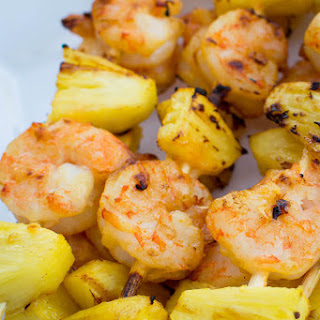 Grilled Sweet Chili and Coconut Pineapple Shrimp Skewers.
