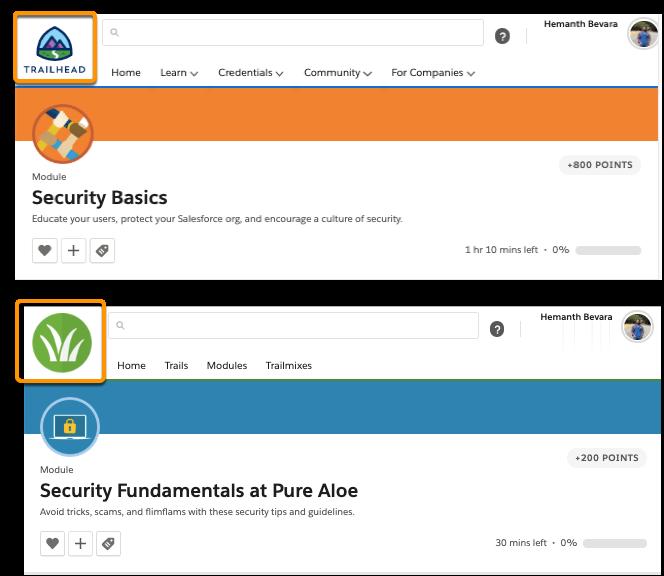 Módulo do Salesforce Trailhead mostrando o logotipo do Trailhead, e módulo do myTrailhead mostrando o logotipo da Pure Aloe