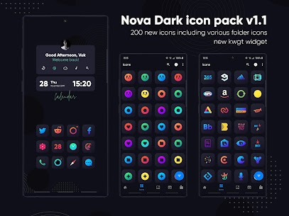 Nova Dark Icon Pack – Rounded Square Shaped Icons v4.6 [Patched] 1