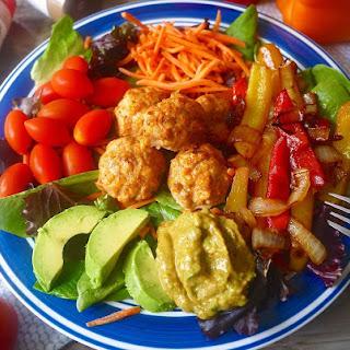 Paleo Fajita Salad with Chicken Taco Meatballs (GF).