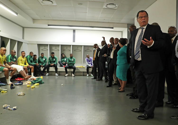 SA Football Association president Danny Jordaan is seen inside the Bafana Bafana dressing room at the FNB Stadium in Soweto, south west of Johannesburg, on Saturday October 13 2018 following a 6-0 2019 Africa Cup of Nation qualifying win over Seychelles.