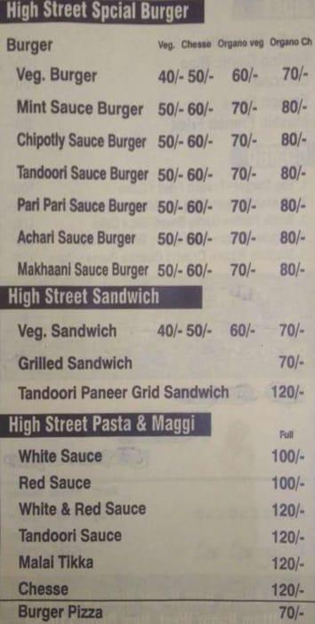 High Street Pizza & Burger Hub menu 3