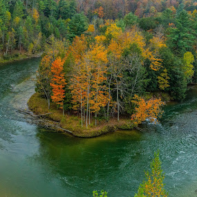 Site 7A by Donna Sparks - Landscapes Waterscapes ( michigan, color, fall, manistee, river,  )