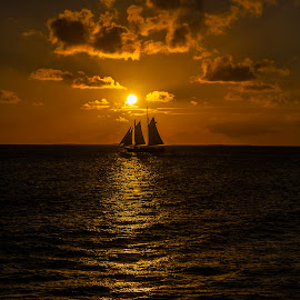 Tranquil Sunset by William Cortes - Landscapes Sunsets & Sunrises ( orange skies, excitement, water, ocean, tranquillity, sail boat, sunset, key west, vacation, sun set, travel, leisure, fun )