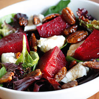 Baby Greens with Goat Cheese, Beets and Candied Pecans.
