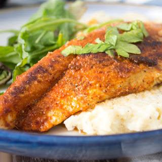 BBQ Catfish + Cauliflower Grits.