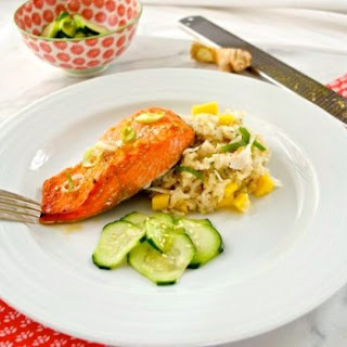 Miso Orange Salmon with Coconut Mango Rice and Pickled Cucumbers
