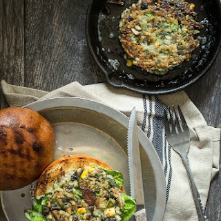 Broccoli Veggie Burger with Brown Rice and Mushrooms.