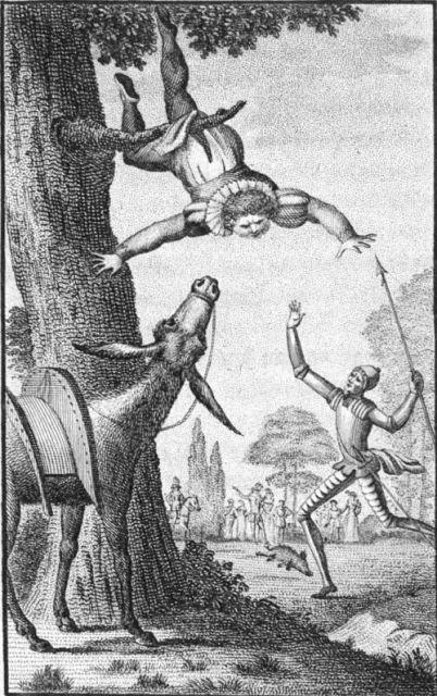 Sancho Panza cuelga de la ama de una encina