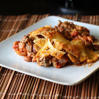 Chili Nacho Casserole With Ground Beef and Beans.
