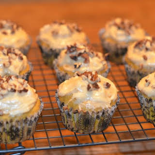 Spiced Pumpkin Pie Cupcakes With Bischoff Cream Cheese Topping.