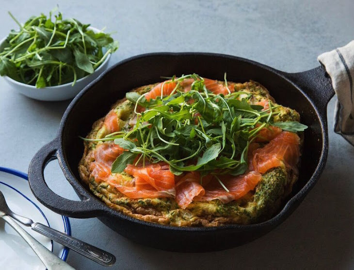Roasted Potato & Chive Frittata with Smoked Salmon & Arugula Recipe ...