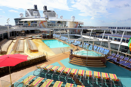 Cool off in one of the pools or unwind in a spacious whirlpool on Harmony of the Seas.