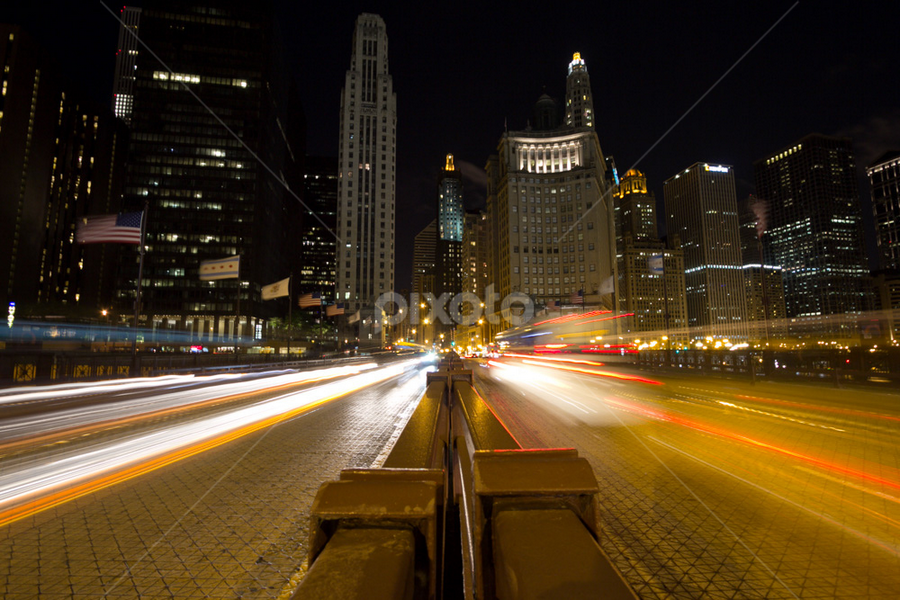 City traffic by Bim Bom - City,  Street & Park  Vistas ( bridge chicago city traffic skyscrapers night blur long exposure street,  )