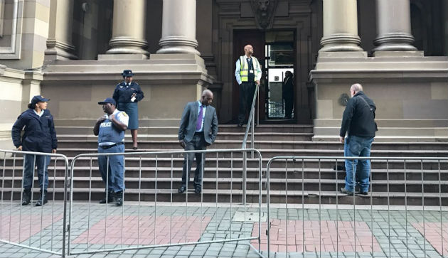 A security fence outside the Durban High court ahead of former president Jacob Zuma's second court appearance
